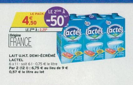 Lot de 2 packs de 6 briques de lait demi-écrémé UHT Lactel - 1 L