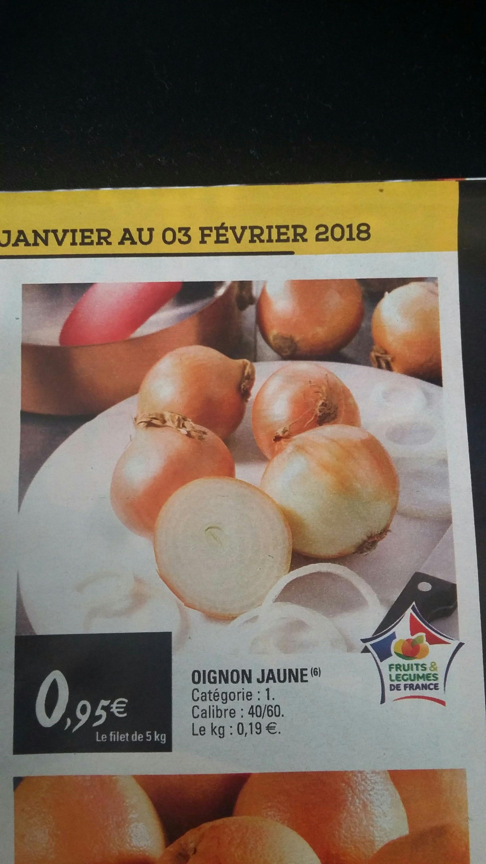 Filet de 5 kg d'oignons jaunes - cat. 1, origine France