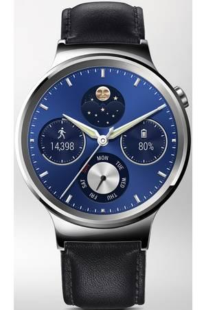 Montre connectée Huawei Watch argent bracelet cuir noir