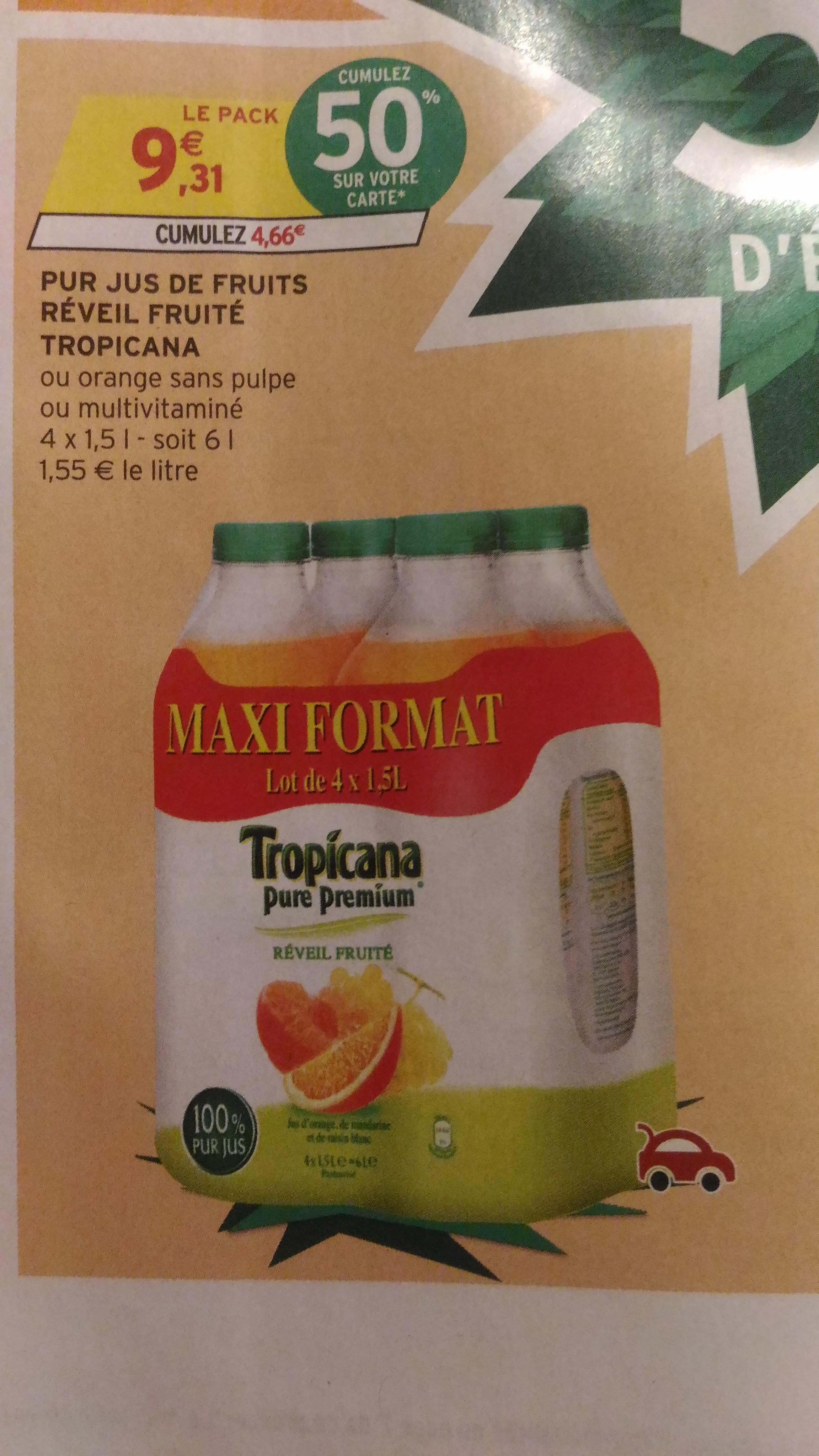 Pack de 4 bouteilles de jus Tropicana - 1.5L (via 4.66€ sur la carte)