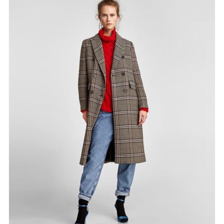 Manteau droit à carreaux - Taille S