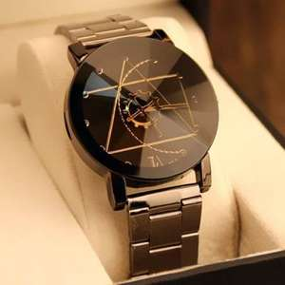 Montre à quartz Gear Geometric - en acier, noir