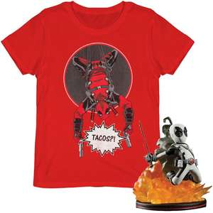 """Pack Deadpool : T-shirt Homme """"Did Someone Say Tacos?"""" + Figurine Q-Fig 15 cm"""