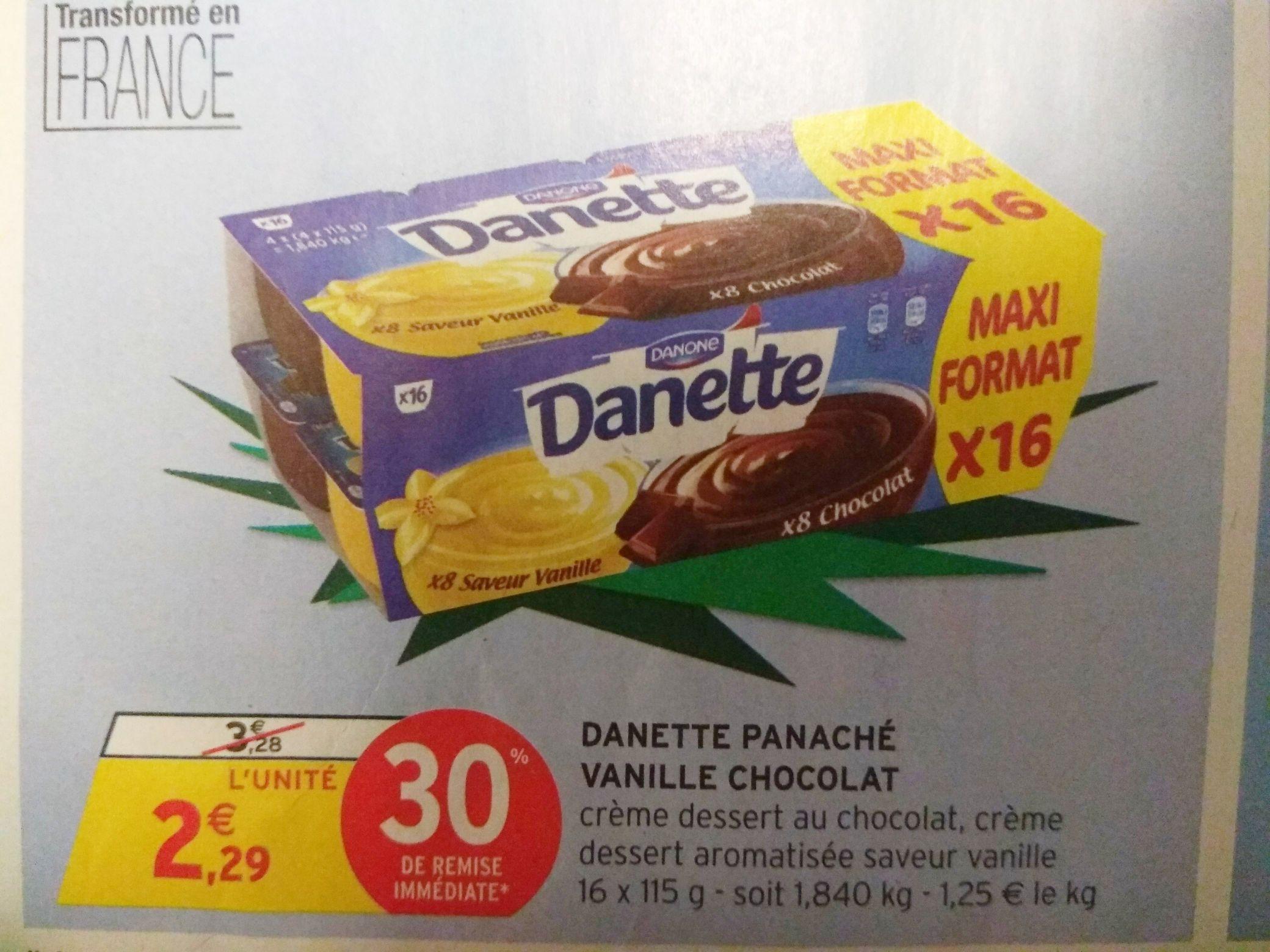 Lot de 16 pots de Danette - Chocolat et Vanille