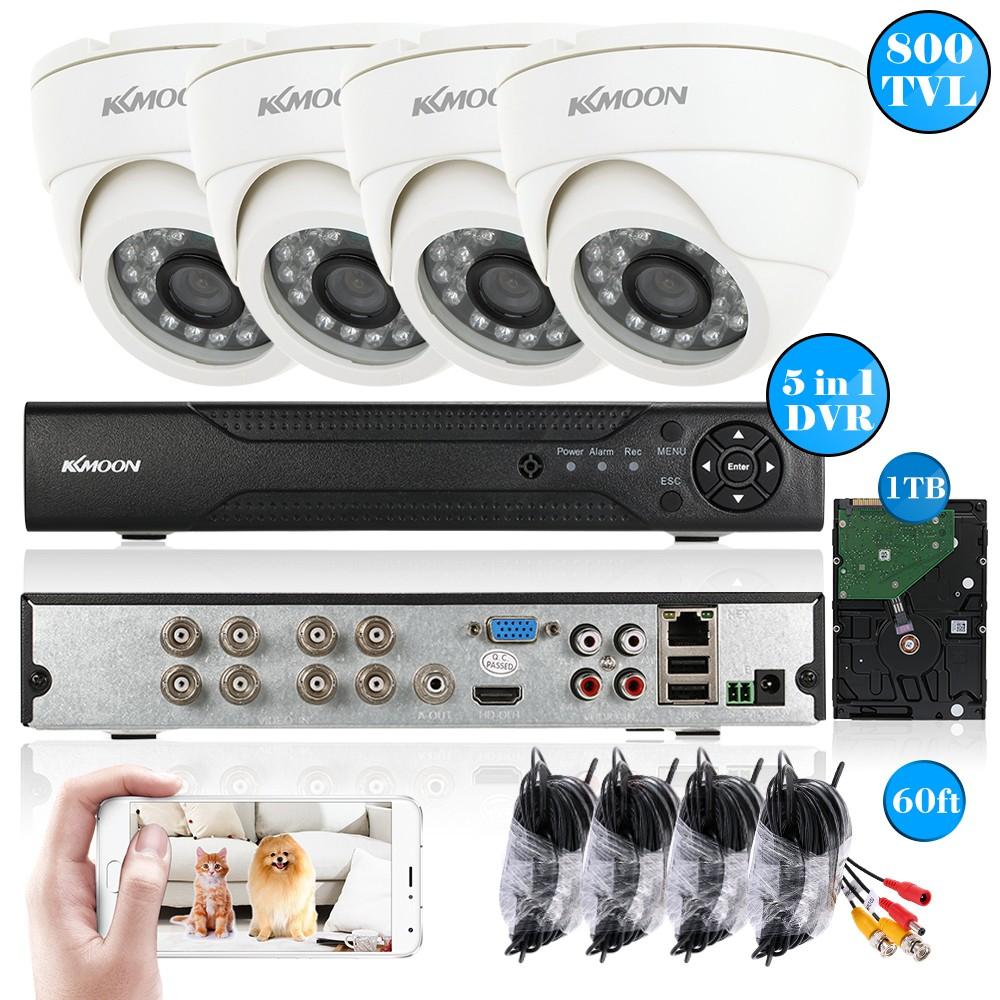 Système de surveillance KKmoon - 4 Caméras + Enregistreur vidéo + Disque dur 1 To + 4 Câbles 18m (Entrepôt Allemagne)