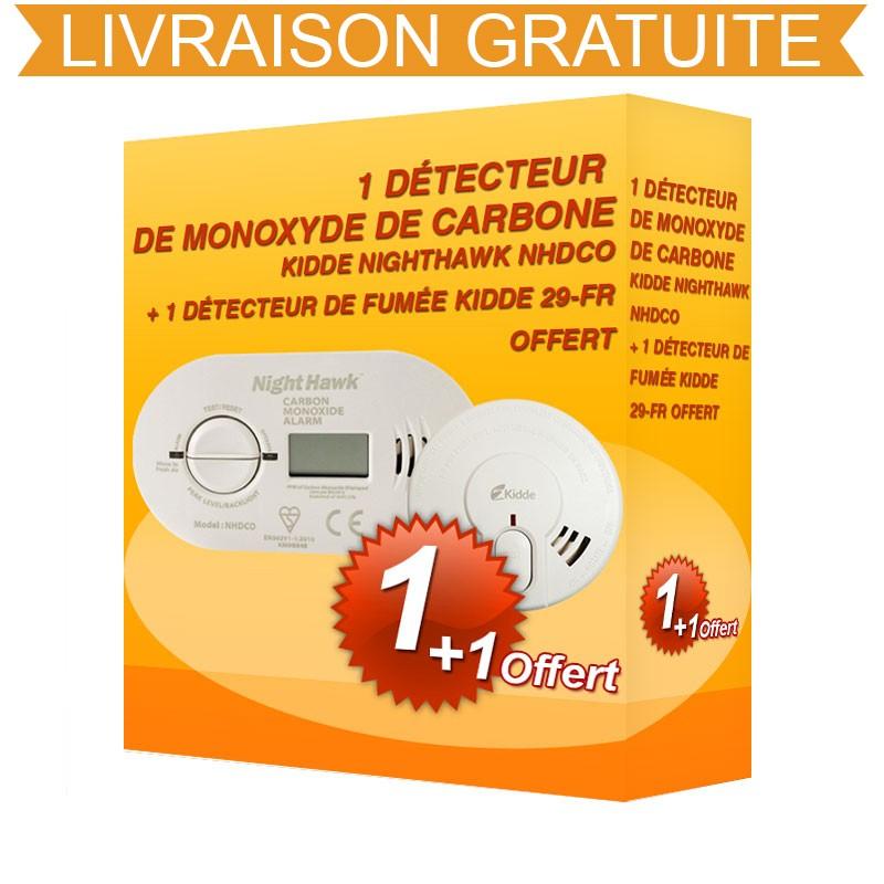 Pack Kidde : Détecteur de monoxyde de carbone + Détecteur de fumée (NHDCO-29-FR)