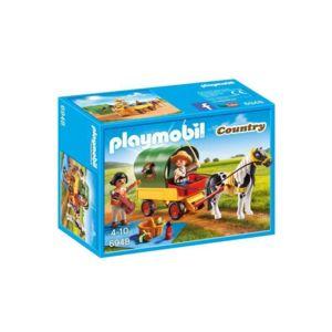 Jouet Playmobil  Enfants avec chariot et poney n°6948