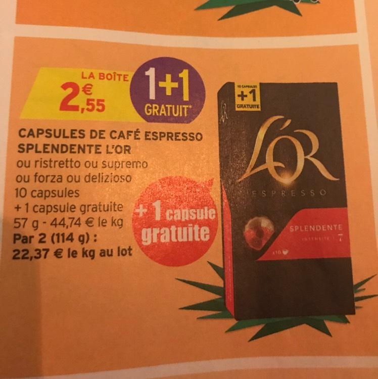 6 Boites de 11 capsules de café l'or compatible Nespresso (via BDR)