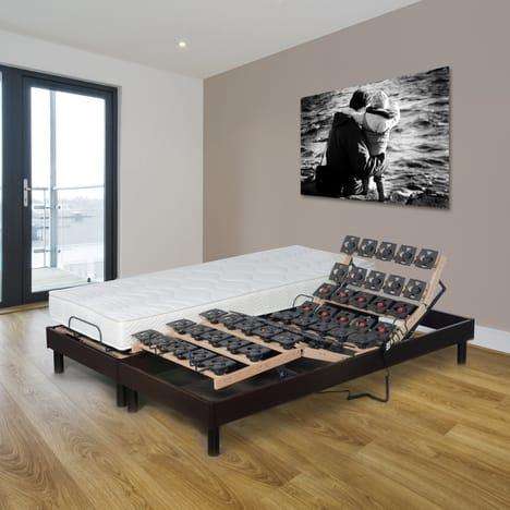 Ensemble de literie Prestige Collection Dorsoflex (160x200 cm) - 2 sommiers électriques + 2 matelas en mousse à mémoire de forme (80x200x18 cm, 55 kg/m3)