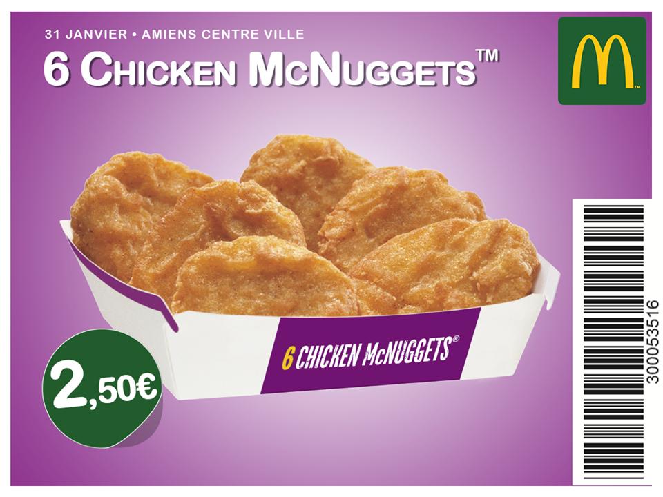Boite de 6 Chicken McNuggets - Amiens centre ville (80)