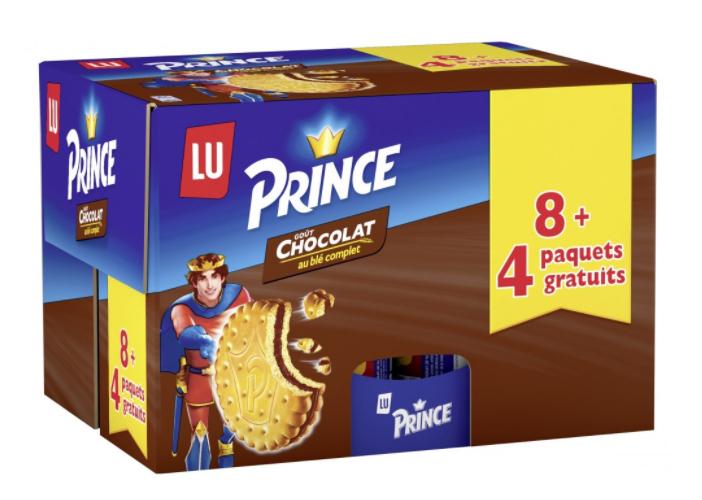 Lot de 12 paquets de biscuits Lu Goûter Prince goût chocolat