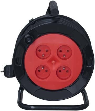 Enrouleur électrique 15 m - 4 prises 2 P+T - Câbles 3G1,5mm²