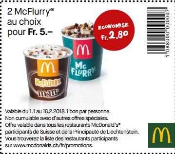 Sélection d'offres promotionnelles chez McDonald's -  Ex. : Lot de 2 McFlurry (Frontaliers Suisse)