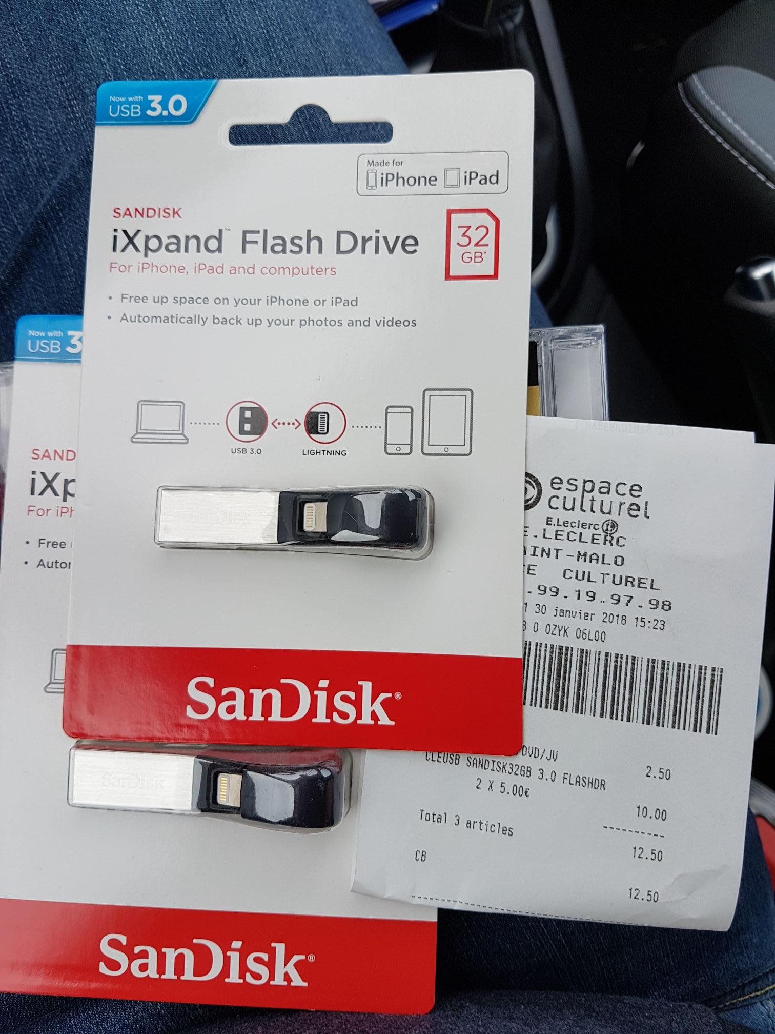 Clé USB Sandisk iXpand FD 32 Go pour iPhone - Leclerc Saint Malo (35)