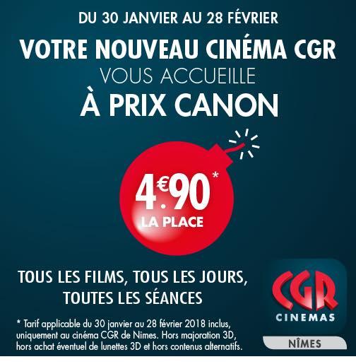 Place de cinéma (hors majoration 3D et contenus alternatifs) au CGR Nîmes (30)