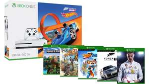 Console Microsoft Xbox One S 500 Go +  Forza Horizon 3 et extension Hot Wheels + FIFA 18 + Super Lucky's Tale + Forza Motorsport 7 + Minecraft Explorers + Sunset Overdrive
