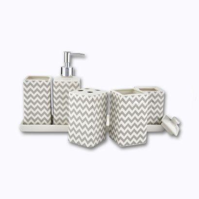 Set de 6 pièces accessoires salle de bains en Céramique  avec pieds antidérapants
