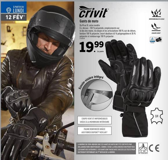 Gants moto homologués CRIVIT
