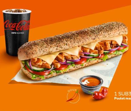 Menu Sandwich Sub30 Poulet Buffalo + 1 Boisson au choix - 30cl
