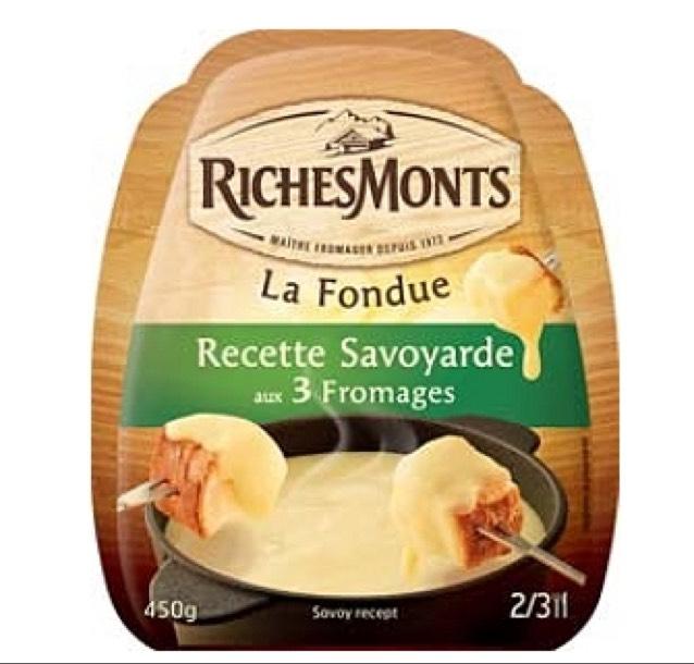 Lot de 2 paquets de fromage RichesMonts La Fondue Recette Savoyarde aux 3 Fromages - 450g (via application + BDR)