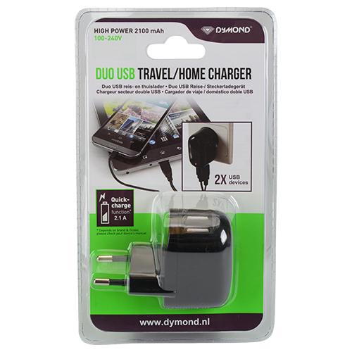 Chargeur USB duo pour prise secteur - 2,1A
