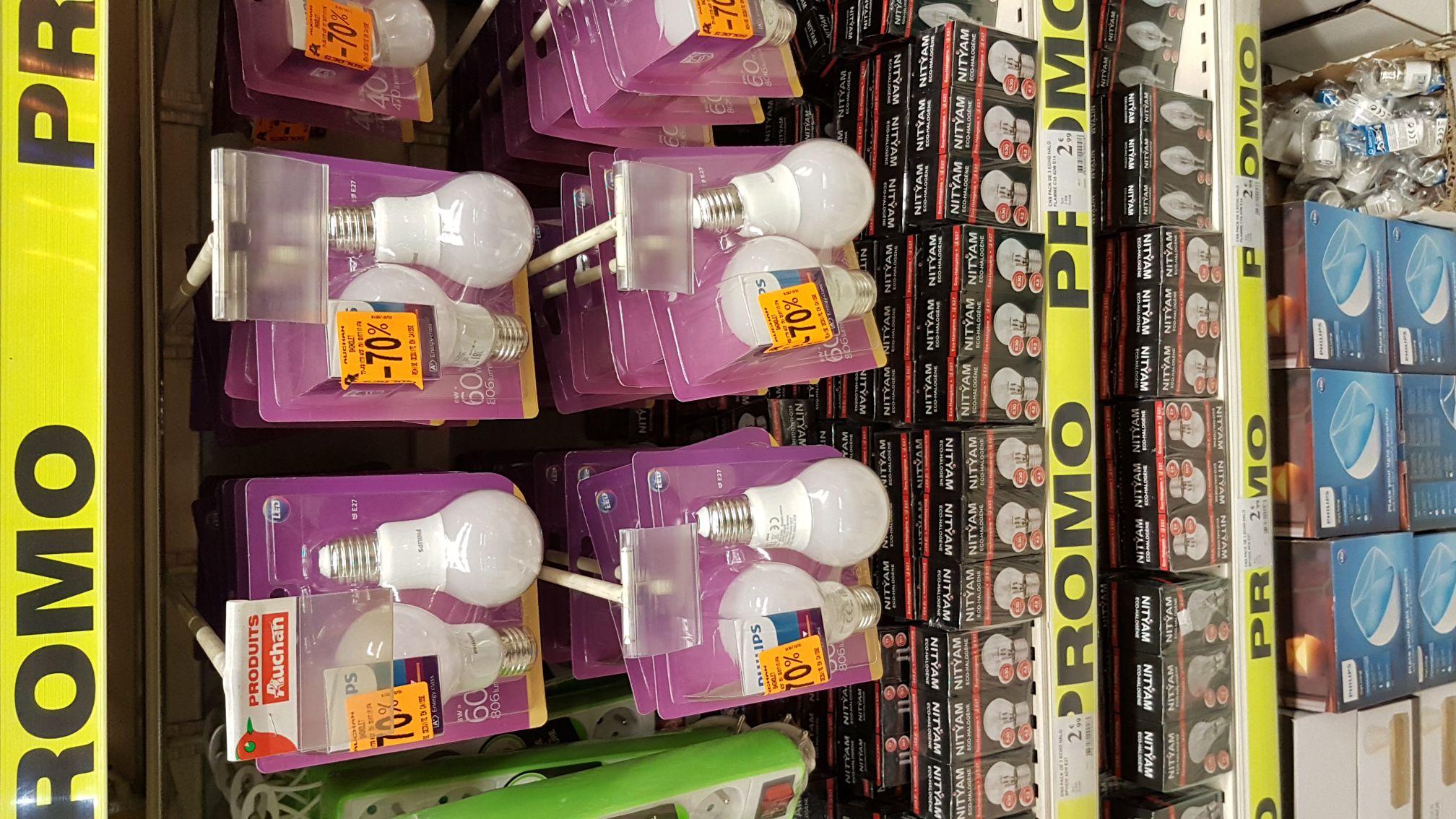 Lot de 2 lampes / ampoules Philips LED E27 8W ou E14 5.5W  - Bagnolet (93)