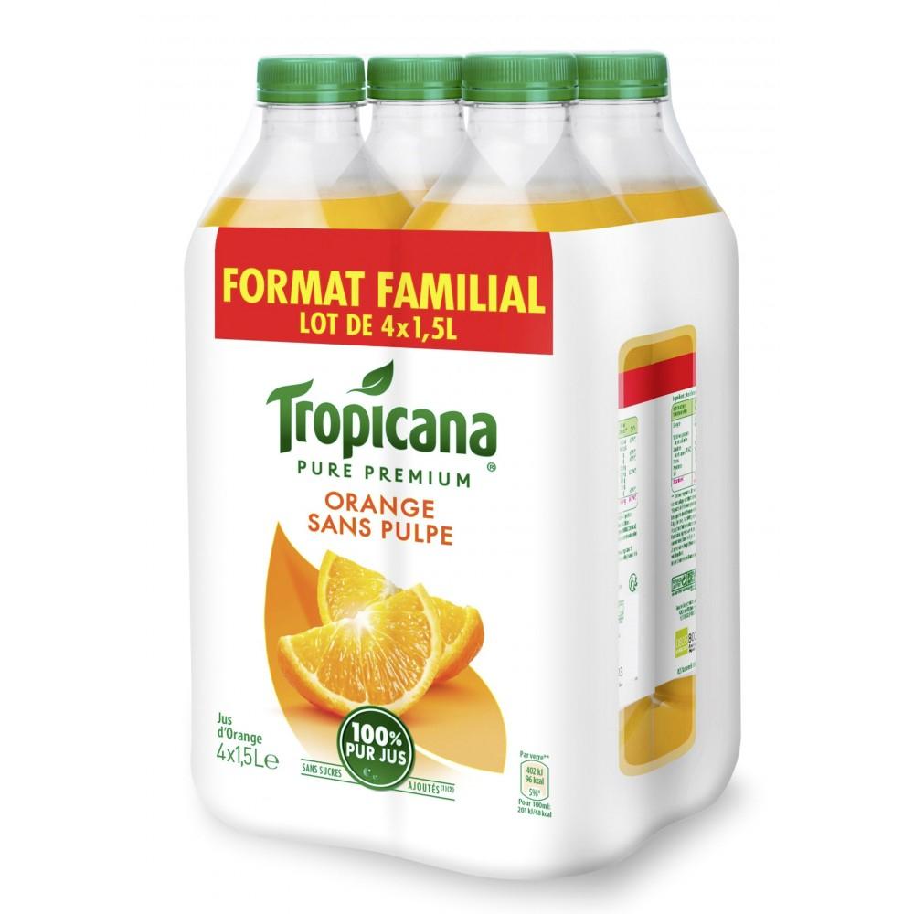 Tropicana pur jus - lot de 4 x 1,5 L (Via 4.64€ sur la carte fidélité)