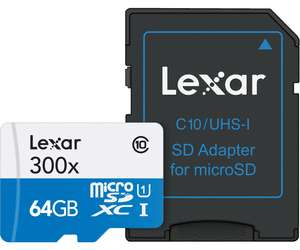 Carte microSDHC Lexar Lexar High-Performance 300x UHS-I - 64 Go