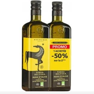 Huile d'olive vierge extra Bio Terra Delyssa - 2 x 75 cl (soit 1,5 L)