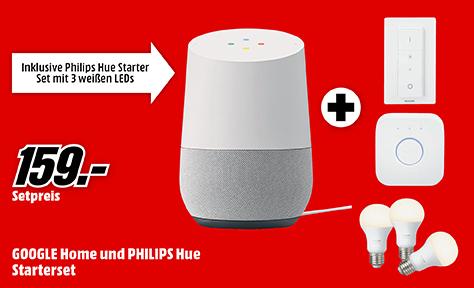 Enceinte connectée Google Home + Kit de démarrage Philips Hue (Frontaliers Allemagne)