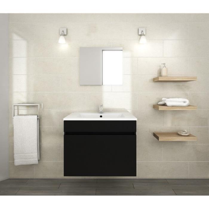 Ensemble de salle de bain Luna simple vasque avec miroir - Noir Mat