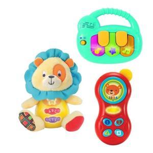Sélection de Jouets en Soldes - Ex: Set de 3 Activités de Découverte pour stimuler les sens du Bébé (César le Lion et son téléphone et son clavier)