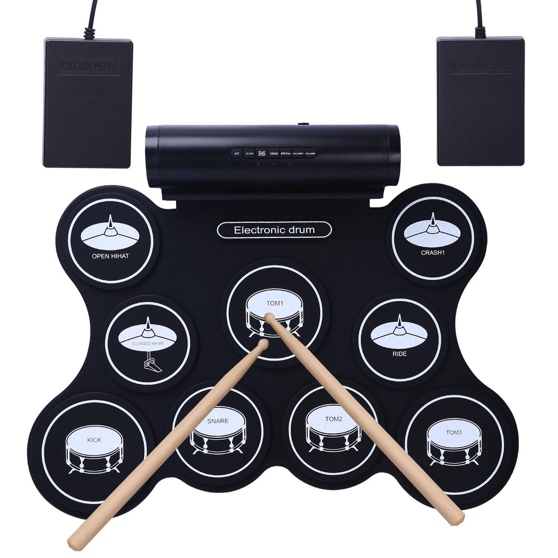 Batterie d'Entraînement Electronique (idéal pour apprentissage) 9 pads, 2 pédales et 2 baguettes - (vendeur tiers)