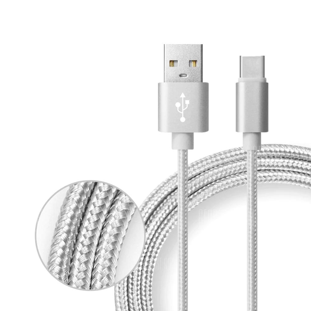 Câble USB Type-C SDL Gris - Quick Charge 3A, Nylon tressé (1m)