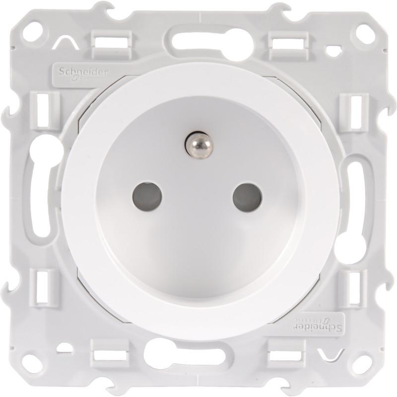 Prise de courant 2P+T Schneider mécanisme Odace Blanc RAL 9003