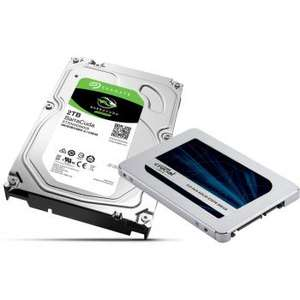 "Pack stockage SSD Crucial MX500 - 500Go + HDD 3.5"" Seagate BarraCuda 2 To"