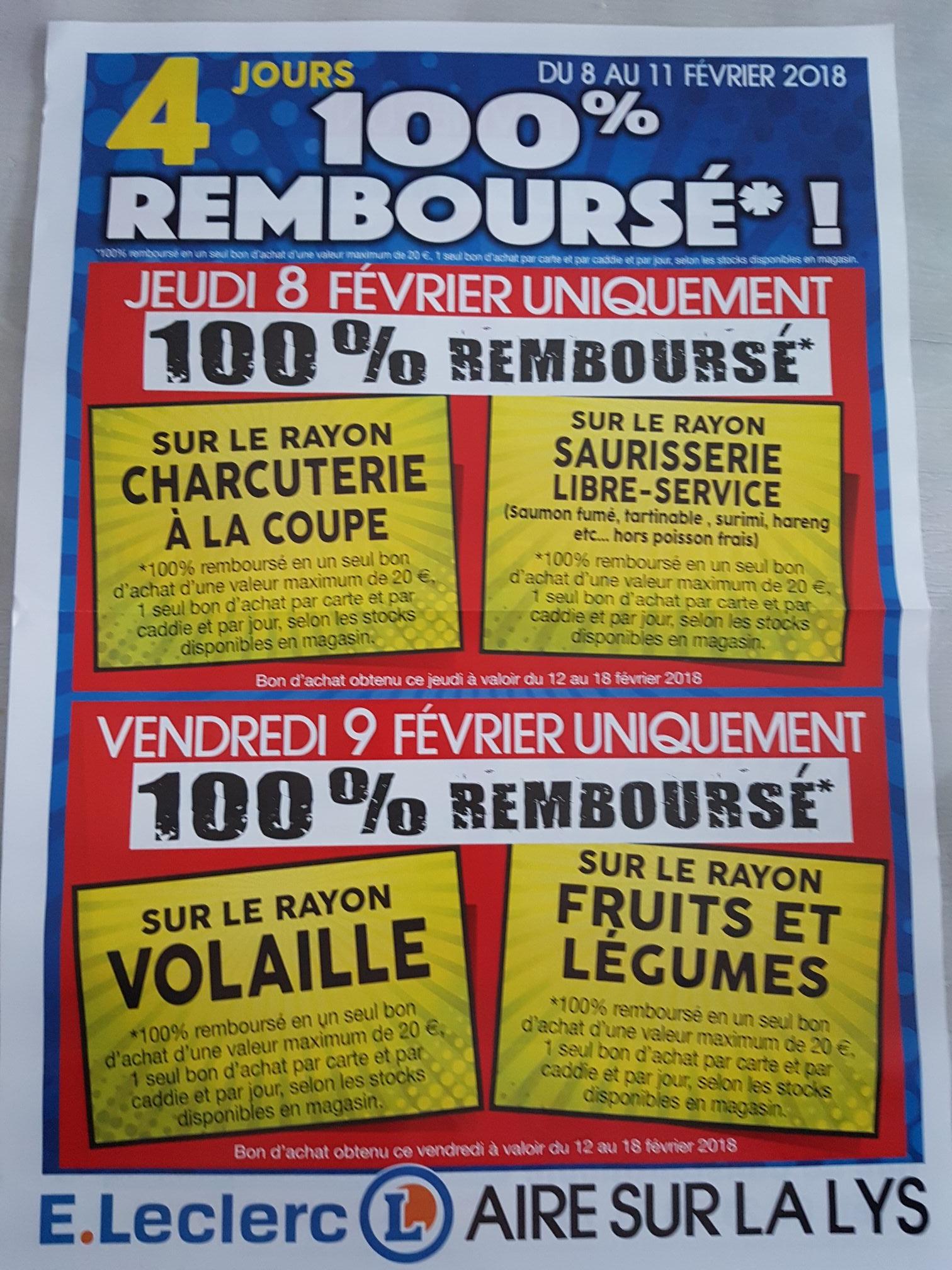 Un bon d'achat offert pour l'achat de produits sur une sélection de rayon (20€ max. / bon) - Ex : jeudi 8 février - rayons Charcuterie à la Coupe + Saurisserie Libre-Service au E.Leclerc Aire-sur-la-Lys (62)