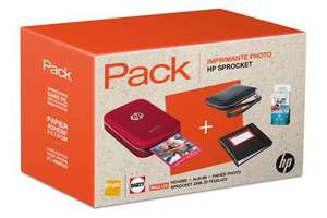 Imprimante photo HP Sprocket Rouge + Housse Noire + Album + Papier photo Sprocket Zink 20 feuilles (via ODR de 20€) + 10€ offerts en carte cadeau