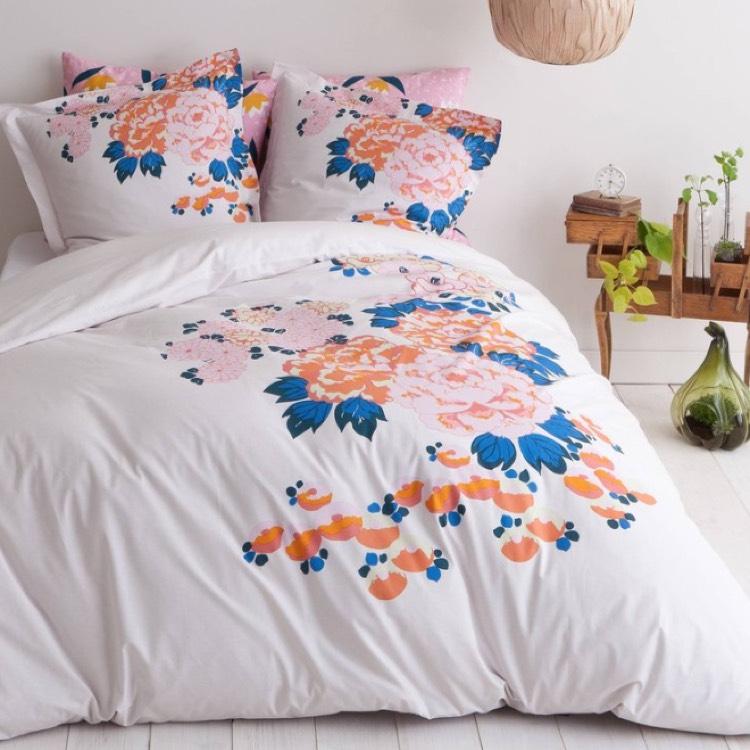 Housse de couette coton imprimé fleurs Orchia (140 x 200 cm)