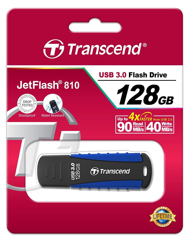 Clé USB 3.0 Transcend JetFlash 810 Antichoc - 128 Go (TS128GJF810)