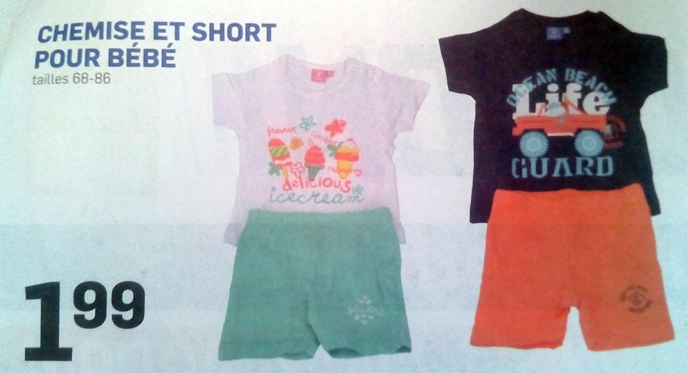 Ensemble T-shirt + Short bébé (Tailles 68 - 86)