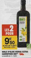 2 Bouteilles d'Huile d'olive vierge extra Carrefour Bio - 2x1L