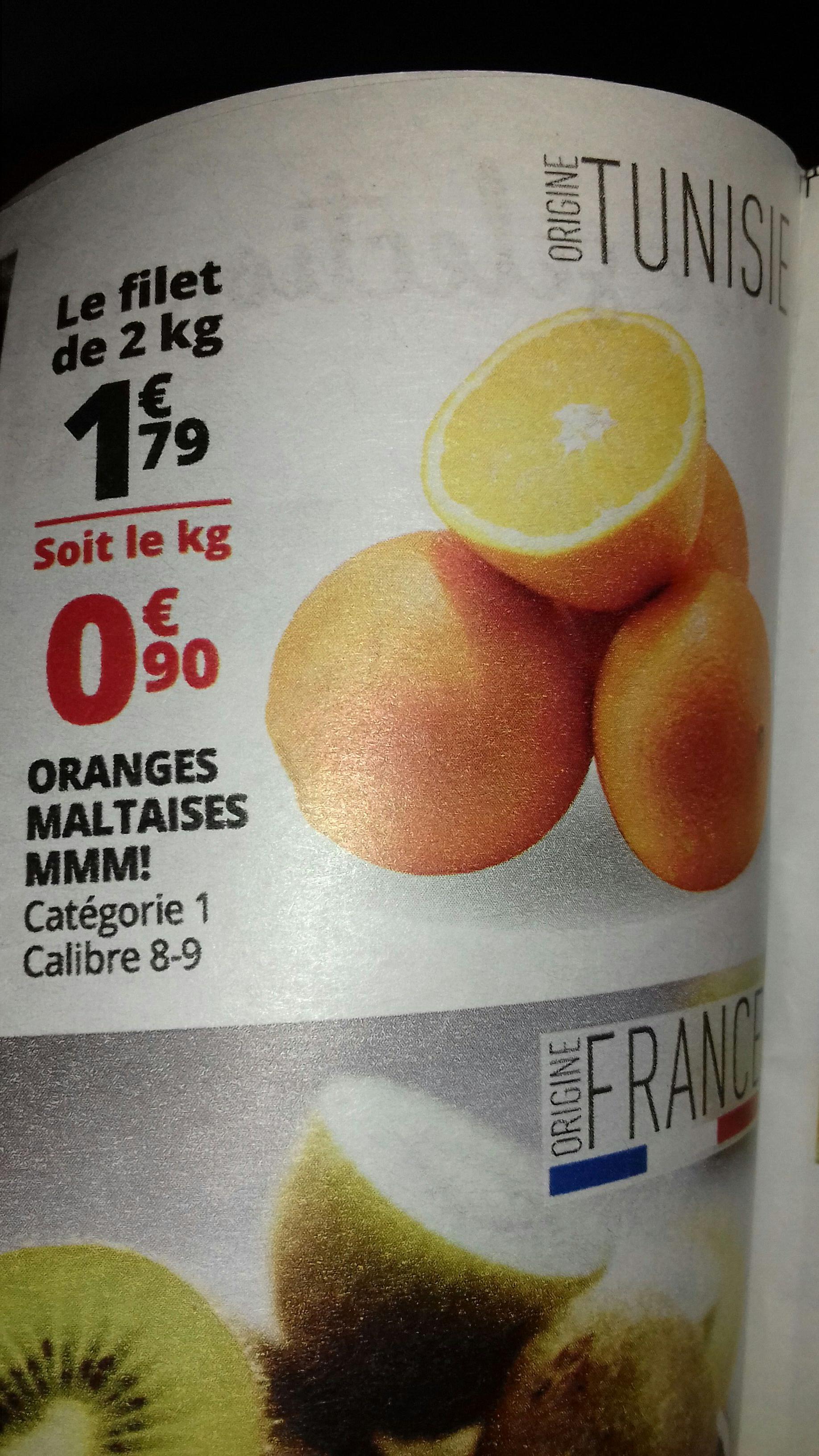 Filet de 2 kg d'oranges Maltaises MMM! - cat. 1, calibre 8/9, origine Tunisie