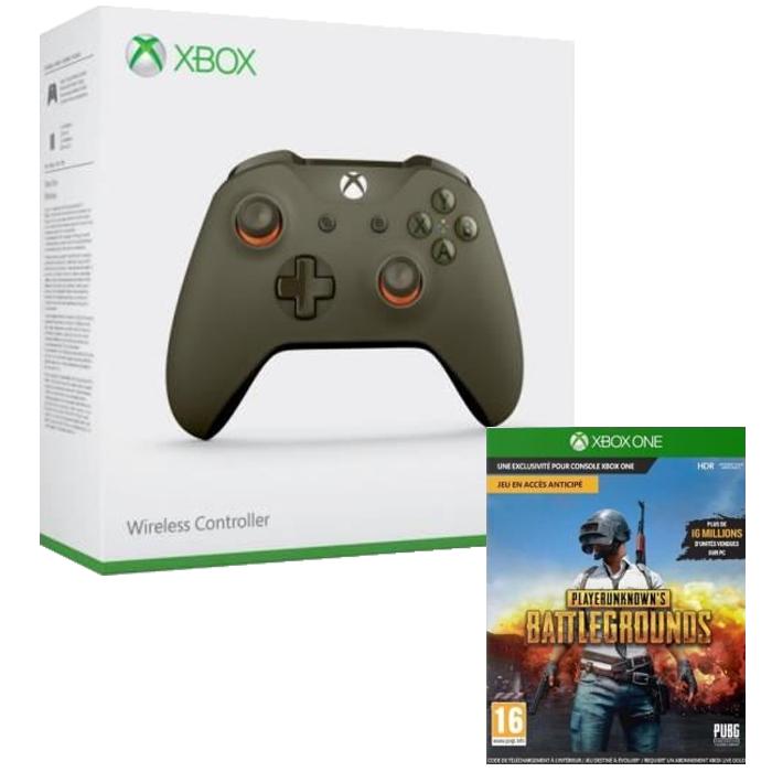Manette Microsoft Xbox One  verte et orange + Playerunknown's Battleground sur Xbox One (Dématérialisé)