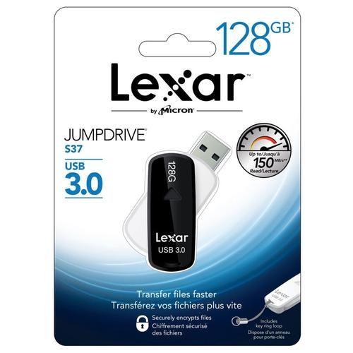 Clé USB 3.0 Lexar JumpDrive S37 (jusqu'à 150 Mo/s) - 128 Go (baisse de prix avec le code mmloyal)