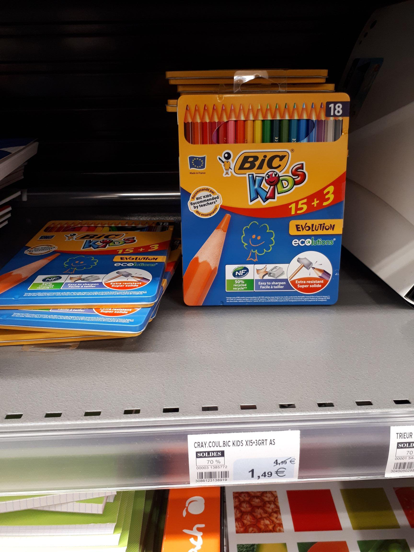 Boîte métallique crayon couleurs bic 15+3 - Blain 44130