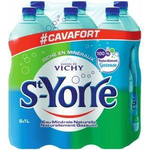 2 Packs de 6 bouteilles d'eau minérale naturelle gazeuse Saint-Yorre - 12x1L