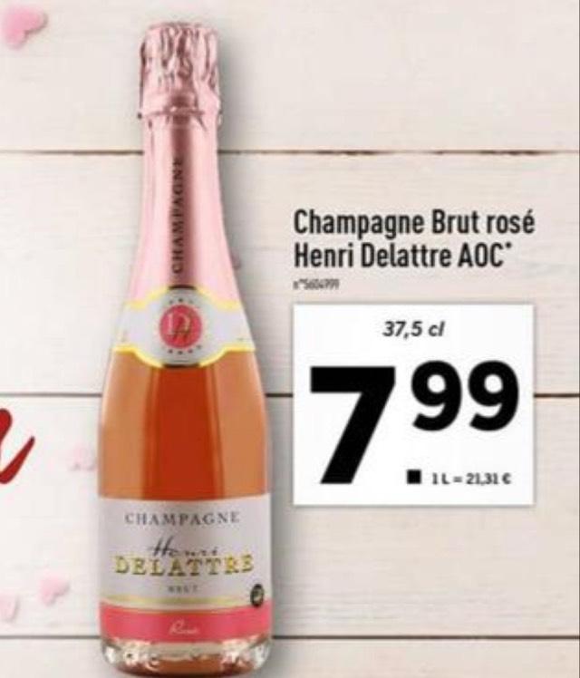 Petite bouteille de champagne Rosé Henri Delattre AOC - 37,5cl