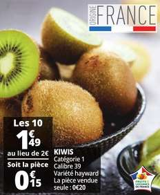 Lot de 10 Kiwis origine France