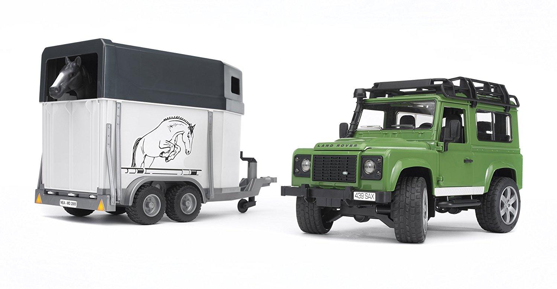 [Prime] Jouet Bruder 02592 - Van Land Rover Defender 90 Break Vert avec Cheval